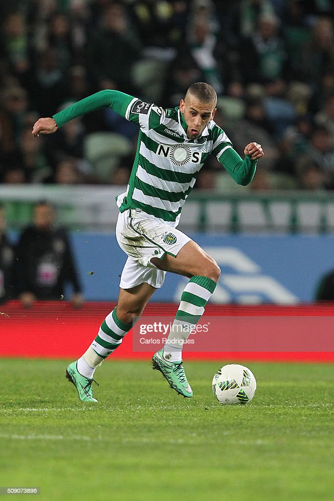 Sporting's forward <a gi-track='captionPersonalityLinkClicked' href=/galleries/search?phrase=Islam+Slimani&family=editorial&specificpeople=9704639 ng-click='$event.stopPropagation()'>Islam Slimani</a> during the match between Sporting CP and Rio Ave FC for the Portuguese Primeira Liga at Jose Alvalade Stadium on February 08, 2016 in Lisbon, Portugal.