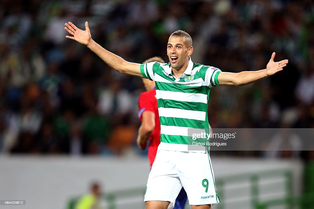 Sporting's forward <a gi-track='captionPersonalityLinkClicked' href=/galleries/search?phrase=Islam+Slimani&family=editorial&specificpeople=9704639 ng-click='$event.stopPropagation()'>Islam Slimani</a> reacts during the match between Sporting CP and CSKA Moscow for UEFA Champions League: Qualifying Round Play Off First Leg on August 18, 2015 in Lisbon, Portugal.