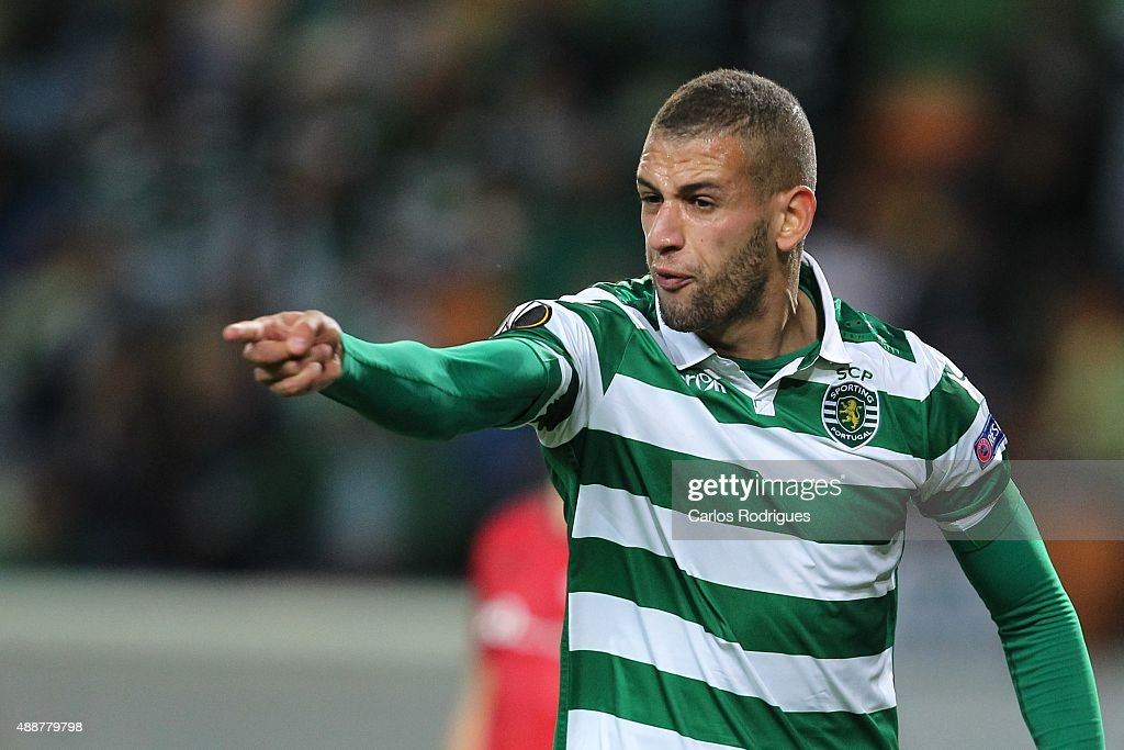 Sporting's forward <a gi-track='captionPersonalityLinkClicked' href=/galleries/search?phrase=Islam+Slimani&family=editorial&specificpeople=9704639 ng-click='$event.stopPropagation()'>Islam Slimani</a> reacts during the match between Sporting CP and Locomotive Moscow for UEFA Europe League: Group Round on September 17, 2015 in Lisbon, Portugal.