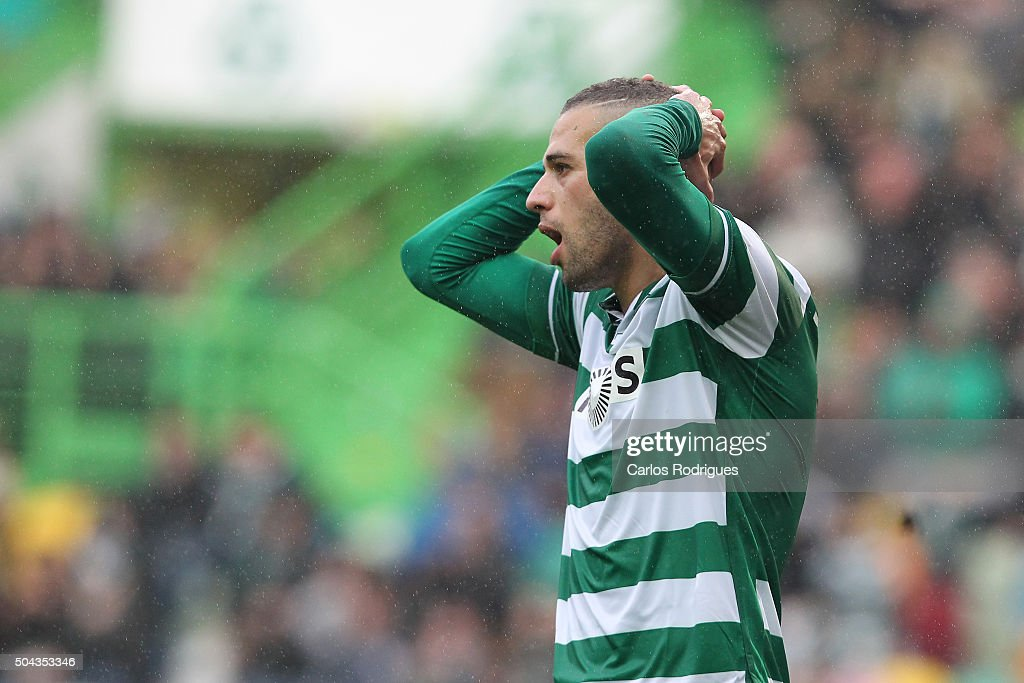 Sporting's forward <a gi-track='captionPersonalityLinkClicked' href=/galleries/search?phrase=Islam+Slimani&family=editorial&specificpeople=9704639 ng-click='$event.stopPropagation()'>Islam Slimani</a> reacts during the match between Sporting CP and SC Braga for the Portuguese Primeira Liga at Jose Alvalade Stadium on September 21 2015 in Lisbon, Portugal.