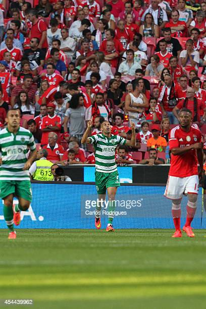 Sporting's forward Islam Sliming celebrates scoring Sporting's goal during the Primeira Liga match between SL Benfica and Sporting CP at Estadio da...
