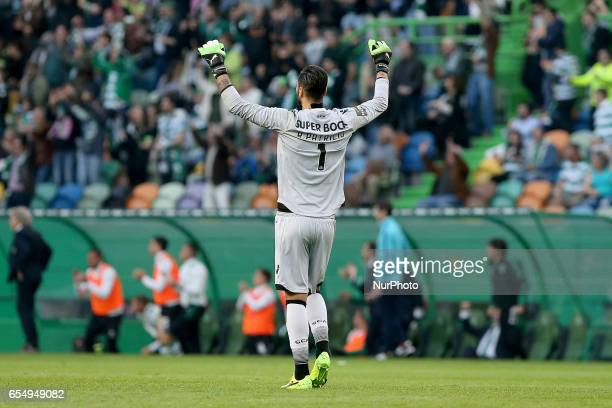Sportings goalkeeper Rui Patricio from Portugal celebrating the first goal of the match scored by Sportings forward Bas Dost from Holland during...