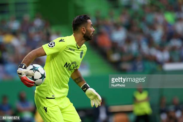 Sporting's goalkeeper Rui Patricio from Portugal in action during the UEFA Champions League playoffs first leg football match between Sporting CP and...