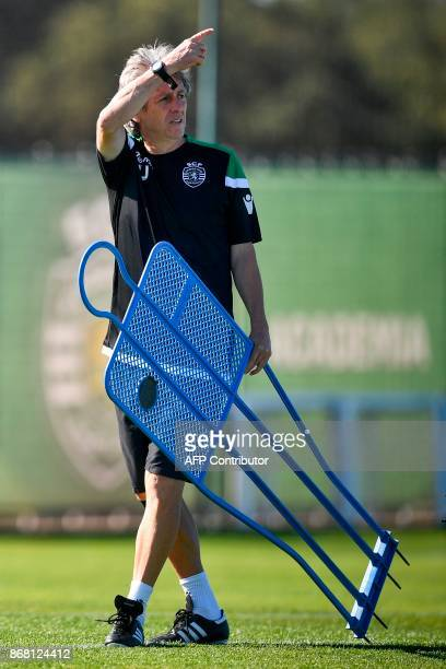 Sporting's head coach Jorge Jesus attends a training session at the club's training ground in Alcochete on October 30 2017 on the eve of the...