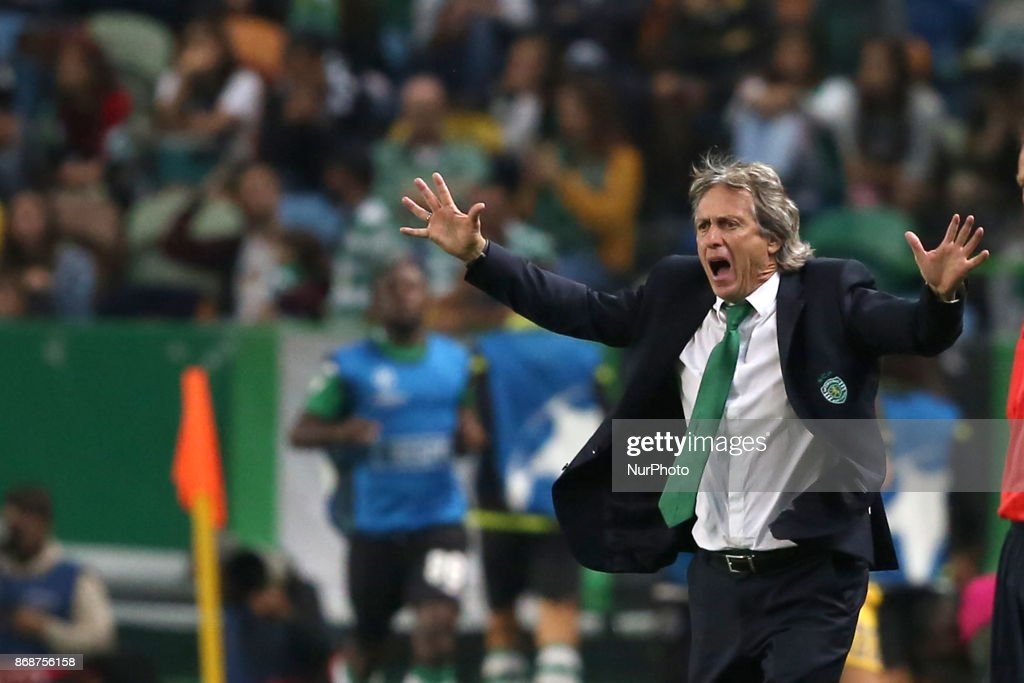 Sporting's head coach Jorge Jesus from Portugal reacts during the UEFA Champions League football match Sporting CP vs Juventus at the Alvalade stadium in Lisbon, Portugal on October 31, 2017.