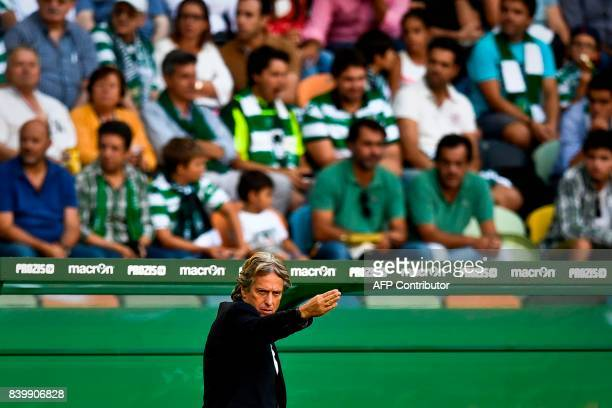 Sporting's head coach Jorge Jesus gestures from the sideline during the Portuguese league football match Sporting CP vs Estoril Praia at the Jose...