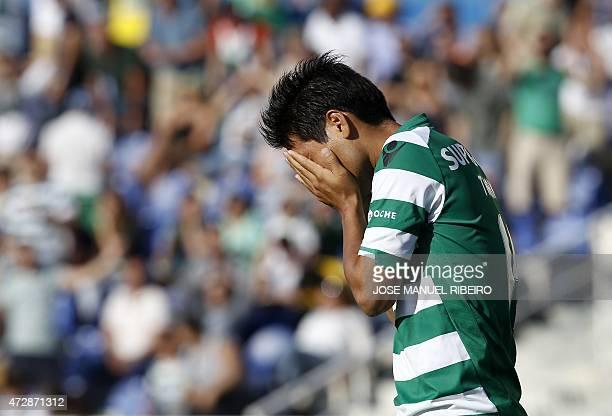 Sporting's Japanese forward Junya Tanaka reacts during the Portuguese Liga football match GD Estoril vs Sporting CP at the Coimbra da Mota stadium in...