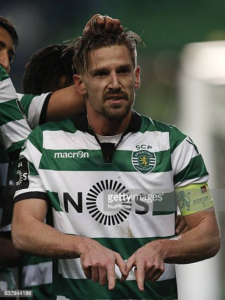 Sporting's midfielder Adrien Silva celebrates his goal during Premier League 2016/17 match between Sporting CP vs FC Pacos Ferreira in Lisbon on...