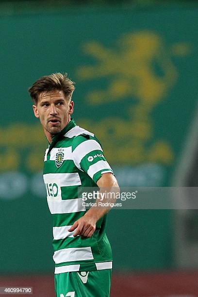 Sporting's midfielder Adrien Silva celebrates scoring Sporting's first goal during Portuguese League match between Sporting CP and Estoril Praia SAD...