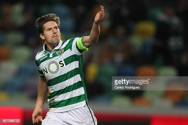 Sporting's midfielder Adrien Silva celebrates scoring Sporting's first goal during the match between Sporting CP and A Academica de Coimbra for the...