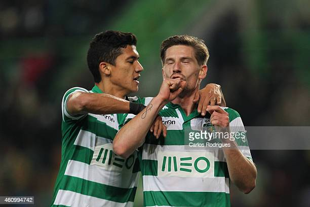 Sporting's midfielder Adrien Silva celebrates scoring Sporting's third goal during Portuguese League match between Sporting CP and Estoril Praia SAD...