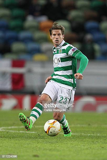 Sporting's midfielder Adrien Silva during the match between Sporting CP and Bayer Leverkusen for UEFA Europa League Round of 32 First Leg on February...