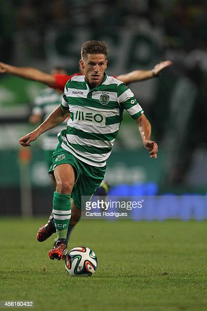 Sporting's midfielder Adrien Silva during the Primeira Liga match between Sporting CP and FC Porto at Estadio Jose Alvalade on September 26 2014 in...