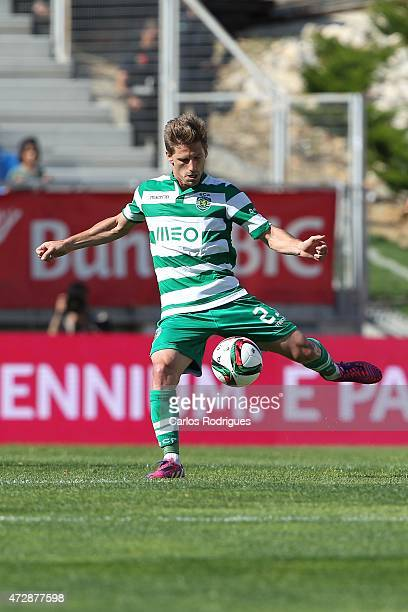 Sporting's midfielder Adrien Silva during the Prmeira Liga match between Estoril and Sporting CP at Estadio Antonio Coimbra da Mota on May 10 2015 in...