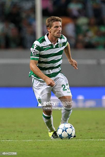 Sporting's midfielder Adrien Silva during the UEFA Champions League qualifying round playoff first leg match between Sporting CP and CSKA Moscow at...
