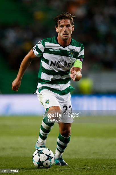 Sporting's midfielder Adrien Silva in action during Champions League 2017/18 first playoff round match between Sporting CP vs FC Steaua Bucuresti in...