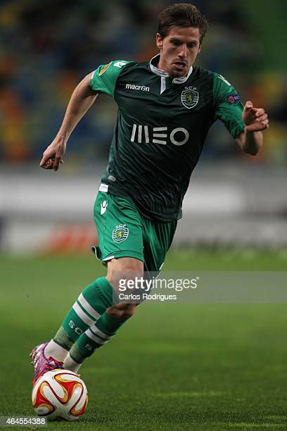 Sporting's midfielder Adrien Silva in action during the UEFA Europa League Round of 32 match between Sporting Clube de Portugal and VfL Wolfsburg at...