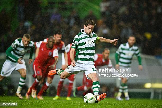 Sporting's midfielder Adrien Silva takes a penalty during the Portuguese league football match Sporting CP vs SC Braga at the Jose Alvalade stadium...