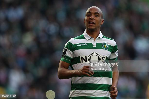 Sporting's midfielder Joao Mario celebrates scoring Sporting second goal during the match between Sporting CP and Uniao da Madeira for the Portuguese...