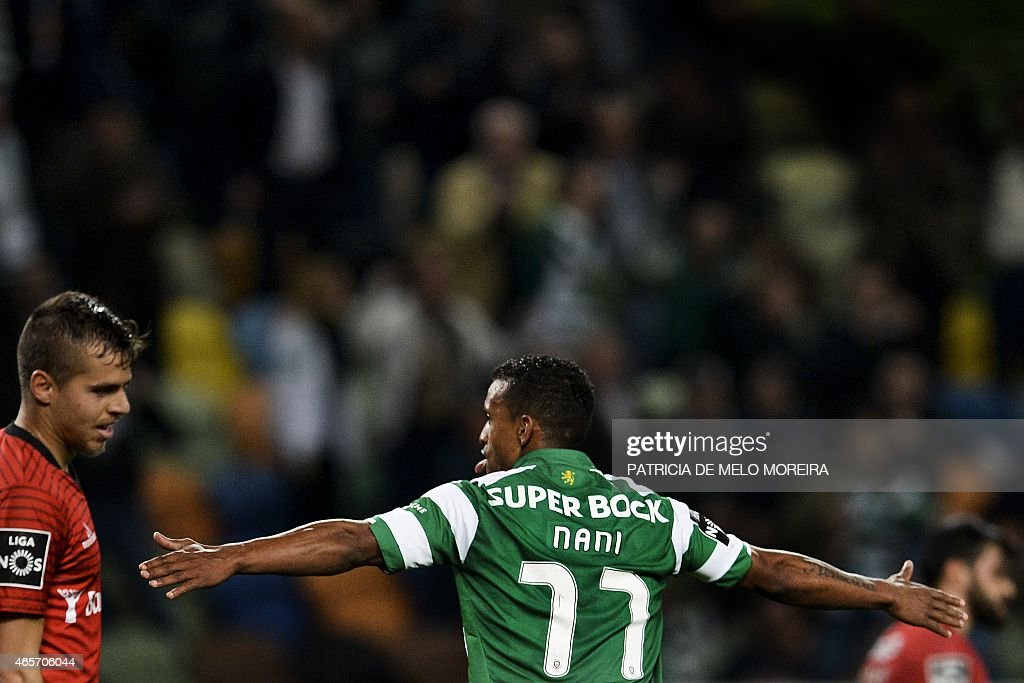 Sporting's midfielder Luis Carlos da Cunha '<a gi-track='captionPersonalityLinkClicked' href=/galleries/search?phrase=Nani+-+Soccer+Player&family=editorial&specificpeople=11510994 ng-click='$event.stopPropagation()'>Nani</a>' celebrates after scoring during the Portuguese league football match Sporting CP vs FC Penafiel at Alvalade stadium on March 9, 2015.