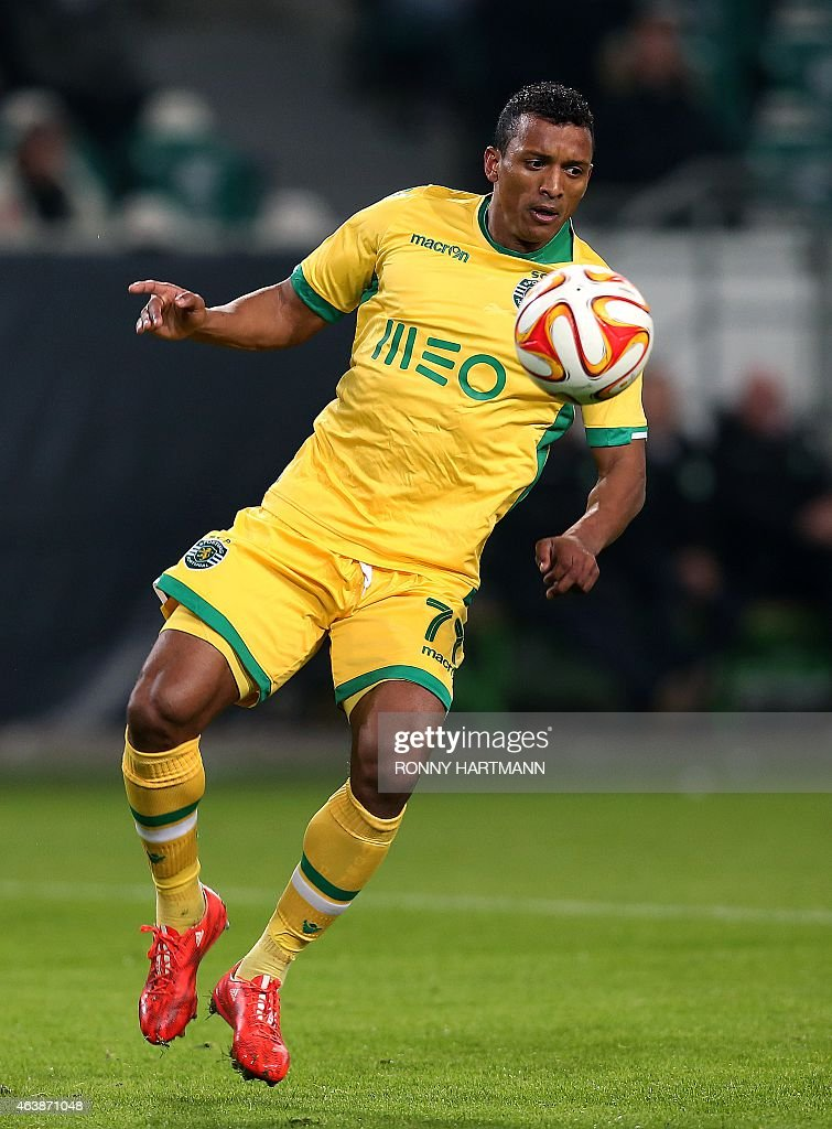 Sporting's midfielder Luis Carlos da Cunha '<a gi-track='captionPersonalityLinkClicked' href=/galleries/search?phrase=Nani+-+Soccer+Player&family=editorial&specificpeople=11510994 ng-click='$event.stopPropagation()'>Nani</a>' controls the ball during UEFA Europa League Round of 32 football match between VfL Wolfsburg v Sporting Portugal on February 19, 2015 in Wolfsburg, Germany. AFP PHOTO / RONNY HARTMANN
