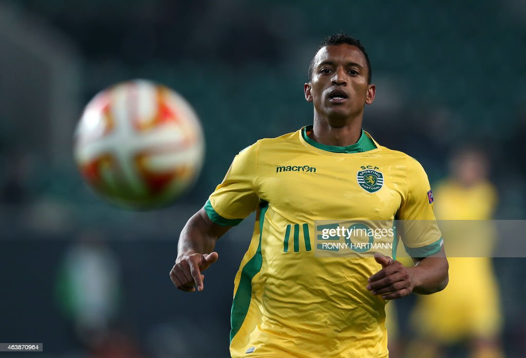Sporting's midfielder Luis Carlos da Cunha '<a gi-track='captionPersonalityLinkClicked' href=/galleries/search?phrase=Nani+-+Soccer+Player&family=editorial&specificpeople=11510994 ng-click='$event.stopPropagation()'>Nani</a>' focusses the ball during UEFA Europa League Round of 32 football match between VfL Wolfsburg v Sporting Portugal on February 19, 2015 in Wolfsburg, Germany.