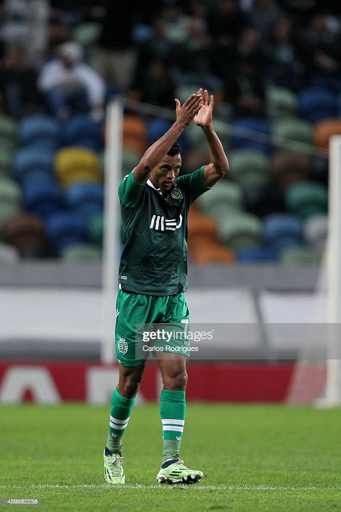 LISBON, PORTUGAL - NOVEMBER - Sporting's midfielder <a gi-track='captionPersonalityLinkClicked' href=/galleries/search?phrase=Nani+-+Soccer+Player&family=editorial&specificpeople=11510994 ng-click='$event.stopPropagation()'>Nani</a> celebrates Sporting's second goal during the UEFA Champions League match between Sporting Clube de Portugal and NK Maribor on November 25, 2014 in Lisbon, Portugal.