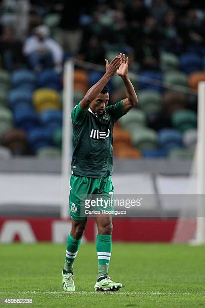 LISBON PORTUGAL NOVEMBER Sporting's midfielder Nani celebrates Sporting's second goal during the UEFA Champions League match between Sporting Clube...