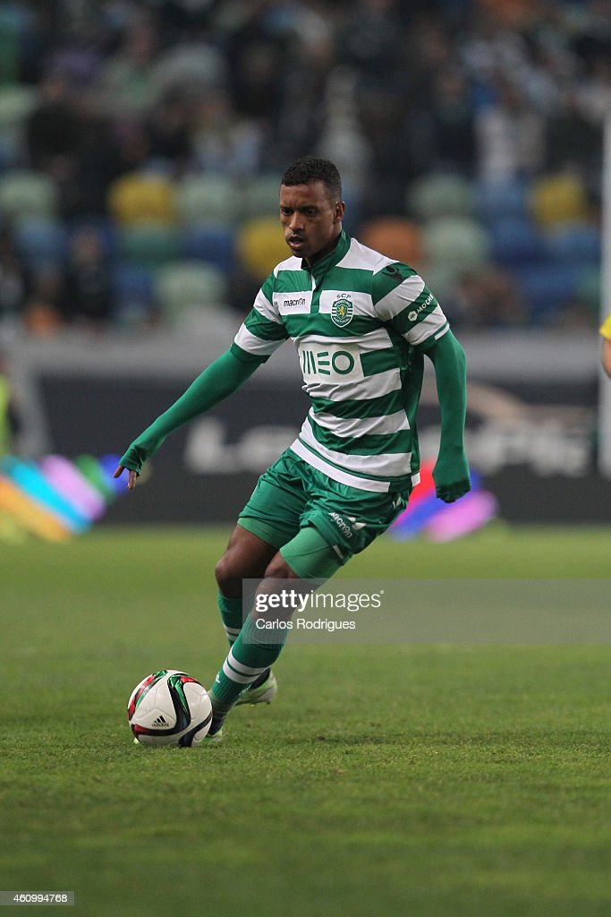 Sporting's midfielder <a gi-track='captionPersonalityLinkClicked' href=/galleries/search?phrase=Nani+-+Soccer+Player&family=editorial&specificpeople=11510994 ng-click='$event.stopPropagation()'>Nani</a> during Portuguese League match between Sporting CP and Estoril Praia SAD at Estadio Jose Alvalade on January 3, 2015 in Lisbon, Portugal.