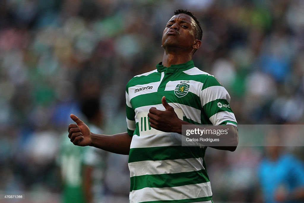Sporting's midfielder <a gi-track='captionPersonalityLinkClicked' href=/galleries/search?phrase=Nani+-+Soccer+Player&family=editorial&specificpeople=11510994 ng-click='$event.stopPropagation()'>Nani</a> during the Primeira Liga match between Sporting CF and Boavista at Estadio Jose Alvalade on April 19, 2015 in Lisbon, Portugal.