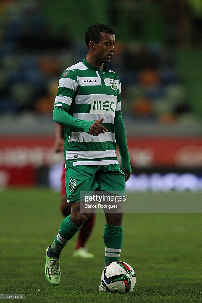 Sporting's midfielder <a gi-track='captionPersonalityLinkClicked' href=/galleries/search?phrase=Nani+-+Soccer+Player&family=editorial&specificpeople=11510994 ng-click='$event.stopPropagation()'>Nani</a> during the Primeira Liga match between Sporting CP and Rio Ave at Estadio Jose Alvalade on January 18, 2015 in Lisbon, Portugal.