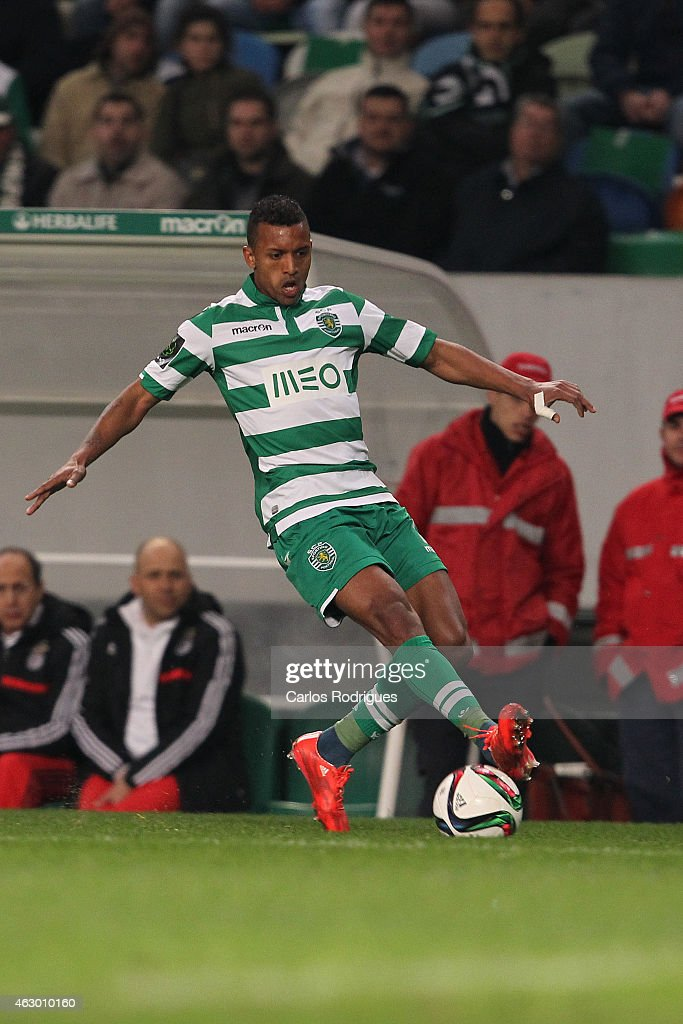 Sporting's midfielder <a gi-track='captionPersonalityLinkClicked' href=/galleries/search?phrase=Nani+-+Soccer+Player&family=editorial&specificpeople=11510994 ng-click='$event.stopPropagation()'>Nani</a> during the Primeira Liga match between Sporting CP and SL Benfica at Estadio Jose Alvalade on February 08, 2015 in Lisbon, Portugal.