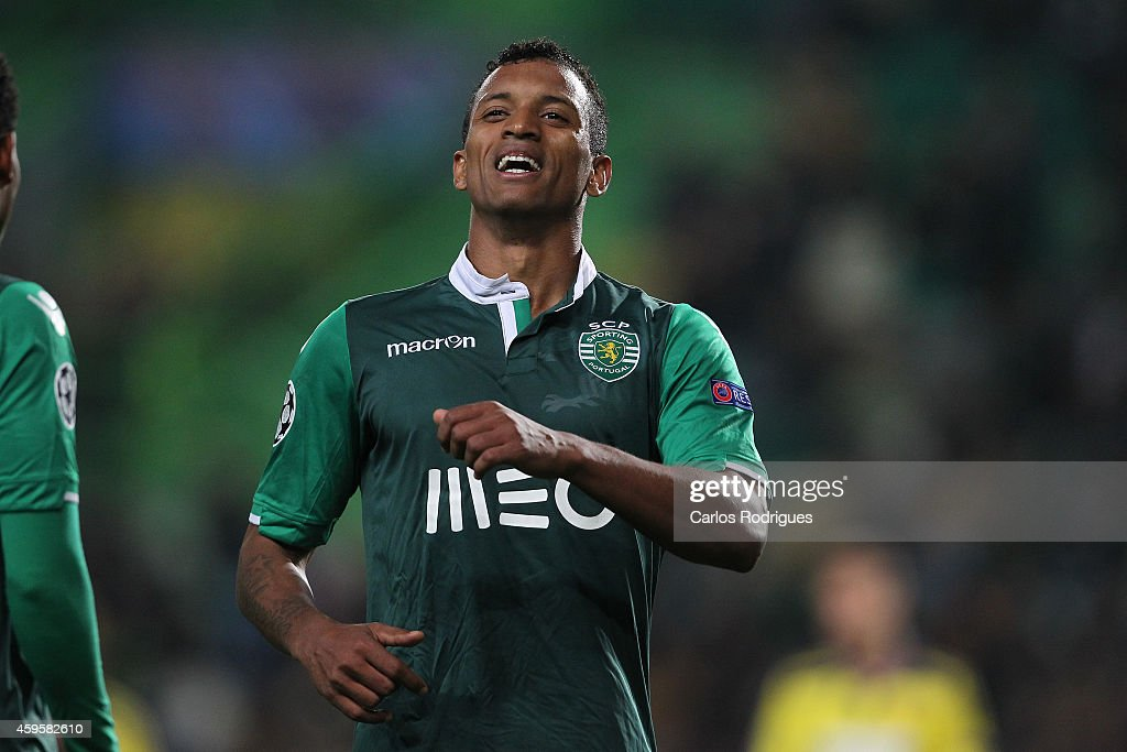 Sporting's midfielder <a gi-track='captionPersonalityLinkClicked' href=/galleries/search?phrase=Nani+-+Soccer+Player&family=editorial&specificpeople=11510994 ng-click='$event.stopPropagation()'>Nani</a> during the UEFA Champions League match between Sporting Clube de Portugal and NK Maribor on November 25, 2014 in Lisbon, Portugal.