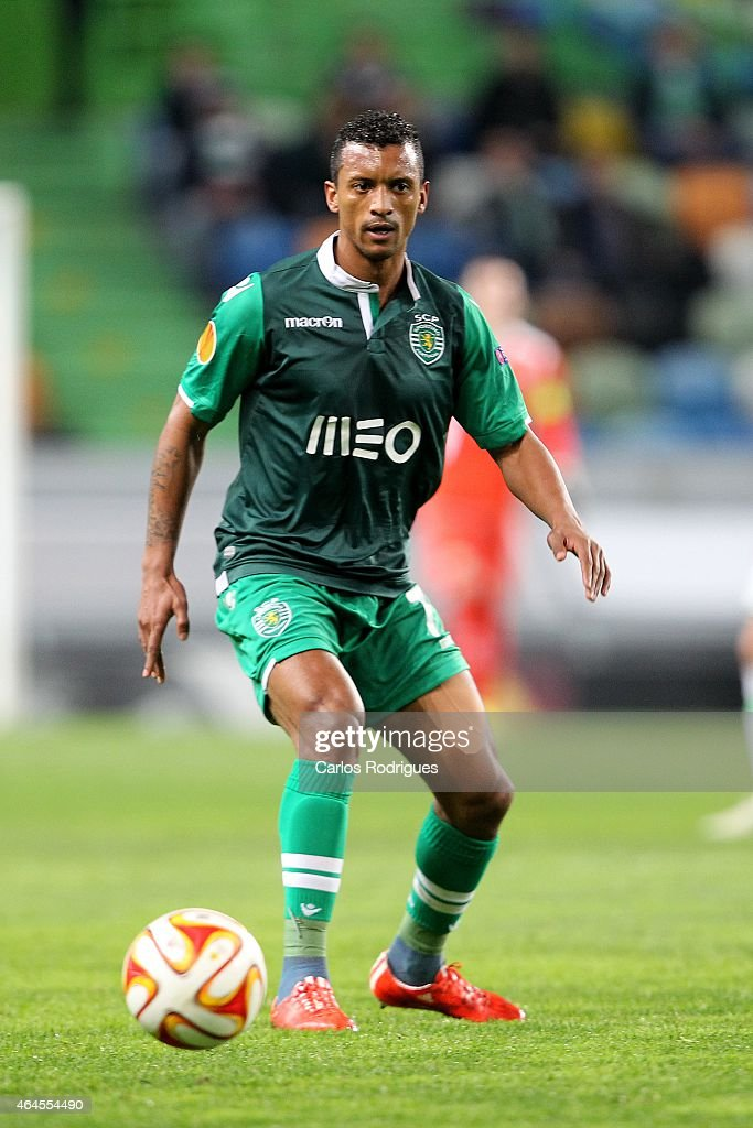 Sporting's midfielder <a gi-track='captionPersonalityLinkClicked' href=/galleries/search?phrase=Nani+-+Soccer+Player&family=editorial&specificpeople=11510994 ng-click='$event.stopPropagation()'>Nani</a> in action during the UEFA Europa League Round of 32 match between Sporting Clube de Portugal and VfL Wolfsburg at Estadio Jose Alvalade on February 26, 2015 in Lisbon, Portugal.