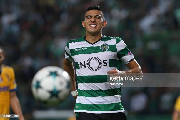 Sportings midfielder Rodrigo Battaglia from Argentina during the match between Sporting CP v Juventus FC UEFA Champions League playoff match at...