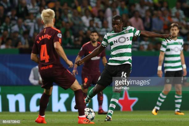 Sportings midfielder William Carvalho from Portugal during the match between Sporting CP v FC Barcelona UEFA Champions League playoff match at...