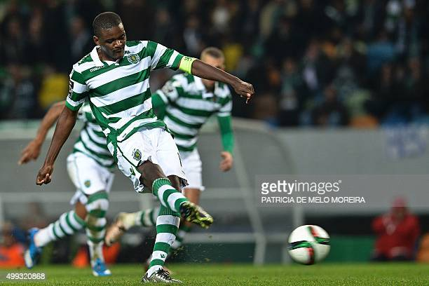 Sporting's midfielder William Carvalho takes a penalty kick during the Portuguese league football match Sporting CP vs Os Belenses at the Jose...
