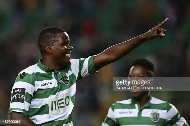 Sporting's midfielder William Silva de Carvalho celebrates after scoring during the Portuguese league football match Sporting CP vs FC Penafiel at...