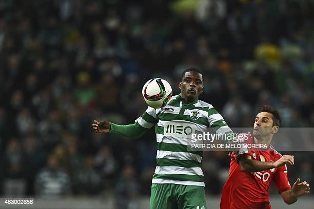 Sporting's midfielder William Silva de Carvalho vies with Benfica's Brazilian forward Jonas Oliveira during the Portuguese league football match...