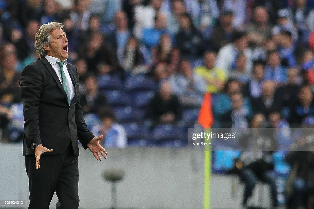 Sporting's Portuguese coach <a gi-track='captionPersonalityLinkClicked' href=/galleries/search?phrase=Jorge+Jesus&family=editorial&specificpeople=686973 ng-click='$event.stopPropagation()'>Jorge Jesus</a> reactions during the Premier League 2015/16 match between FC Porto and Sporting CP, at Drag��o Stadium in Porto on April 30, 2016.