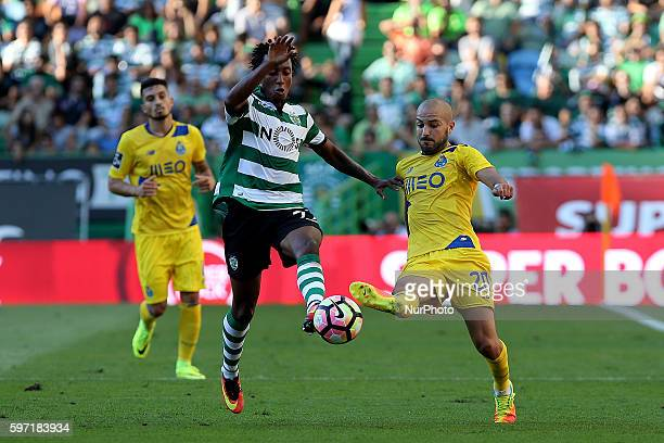 Sporting's Portuguese forward Gelson Martins vies with Porto's Portuguese midfielder Andre Andre during Premier League 2016/17 match between Sporting...
