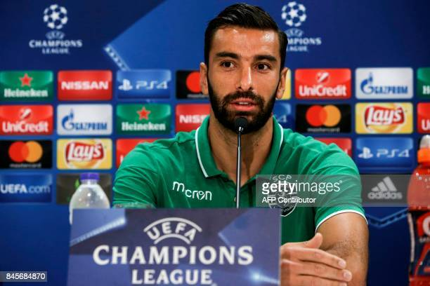 Sporting's Portuguese goalkeeper Rui Patricio speaks during a press conference at the Georgios Karaiskakis Stadium in Athens on September 11 on the...