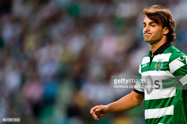 Sporting's Serbian forward Lazar Markovic looks on during the Portuguese league football match Sporting CP vs Moreirense FC at the Jose Alvalade...