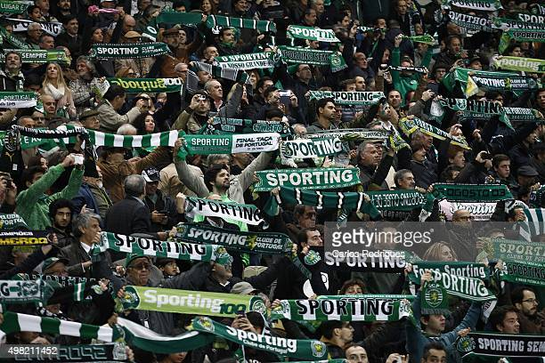 Sporting«s supporters during the match between Sporting CP and SL Benfica for the Portuguese Cup at Jose Alvalade Stadium on November 21 2015 in...
