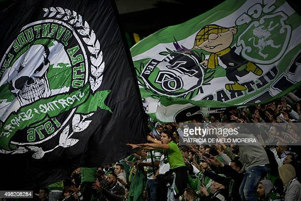 Sporting's supporters shout during the Portuguese Cup football match Sporting CP vs SL Benfica Alvalade stadium in Lisbon on November 21 2015 AFP...