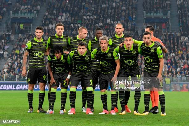Sporting's team players Sporting's defender Cristiano Piccini Sporting's Uruguayan defender Sebastien Coates Sporting's defender Jeremy Mathieu...