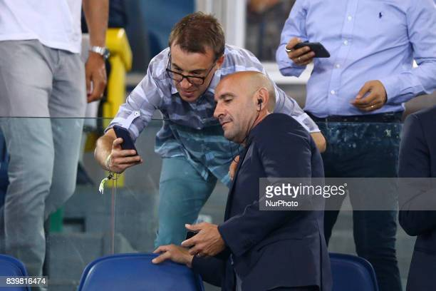 Sportive Director Ramon Rodriguez Verdejo commonly known as Monchi taking a selfie with a fan during the Serie A match between AS Roma and FC...