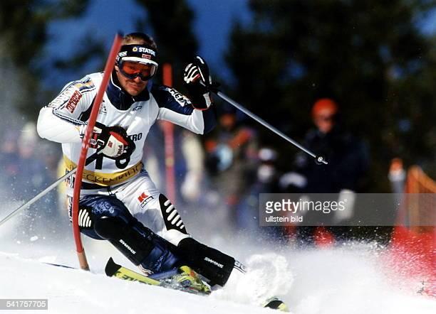 Sportler Ski Alpin NSki Weltcup in Breckenridge in Aktion November 1996