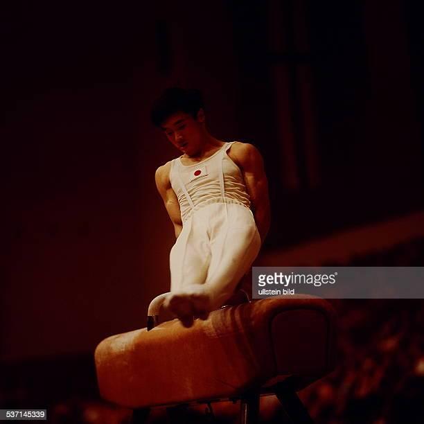 Sportler Turnen JPN 10 Weltfestspiele Kato bei einer Übung am Seitpferd