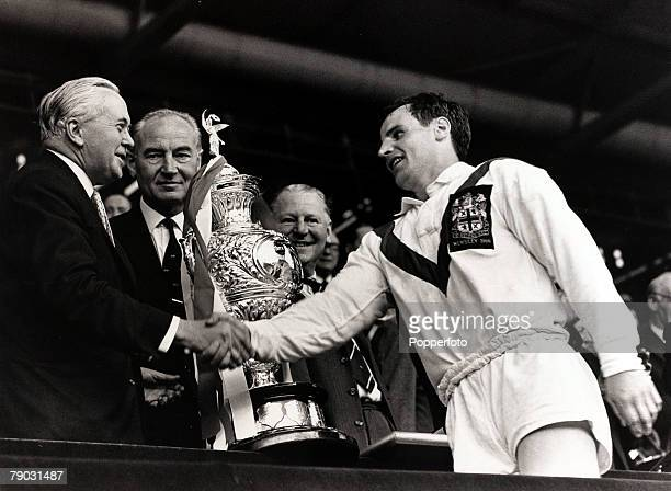 Sport/Rugby League Challenge Cup Final Wembley London England 21st May 1966 St Helens v Wigan British Prime Minister Harold Wilson presents the...
